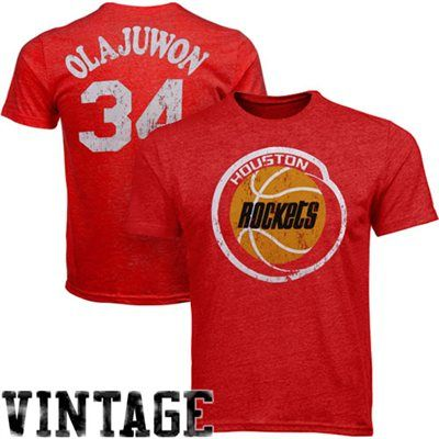 best service c4cbf a62e9 Majestic Threads Hakeem Olajuwon Houston Rockets Hardwood ...