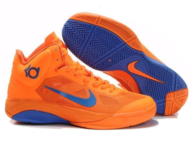 hot sale online 52ea5 9d71a Nike Zoom Hyperfuse Men s Basketball Shoe in orange and blue