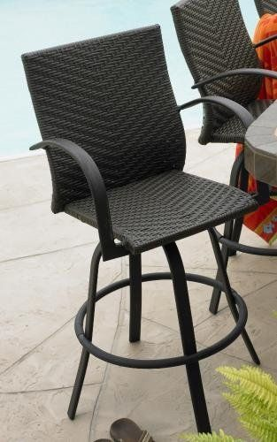 Leather Finish All Weather Wicker Swivel Barstools Set Of Two By