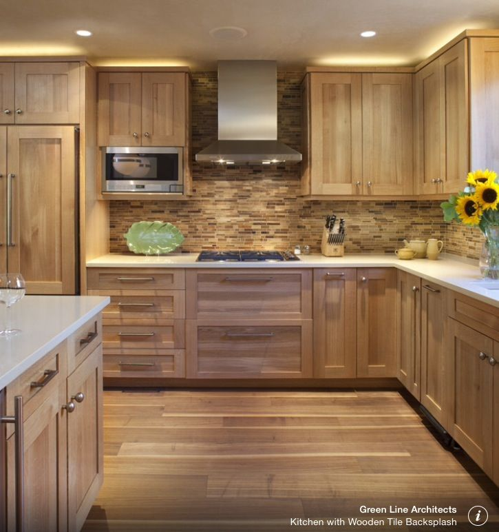 Oak Effect Kitchen Cabinets: Walnut Or Oak Wood Kitchen Cupboards, Sleek Handles, Inset