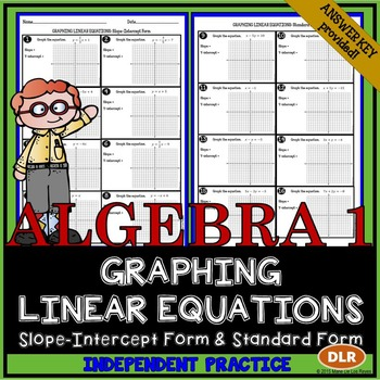 Graphing Linear Equations Worksheet Math Middle School