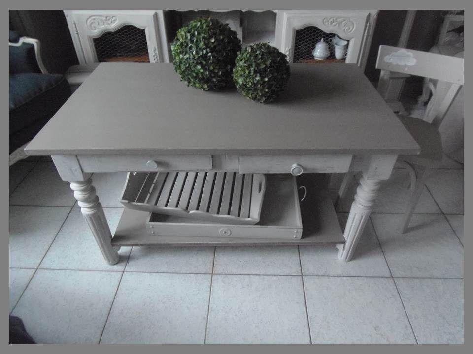 TABLE BASSE PATINE GRIS PERLE BLANC POUDR PLATEAU GRIS