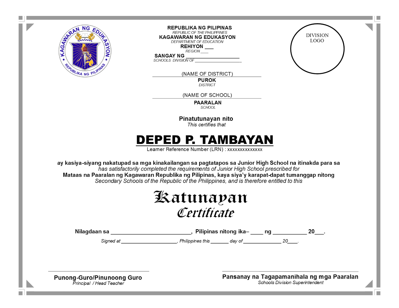 Deped tambayan ph new templates for grade 6 and 10 certificate of deped tambayan ph new templates for grade 6 and 10 certificate of completion yadclub