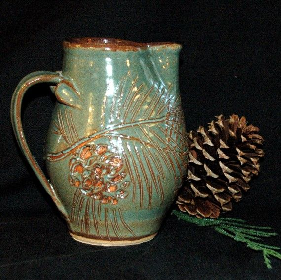 Pottery Pinecone Pitcher Wheel Thrown by littlebearclayworks