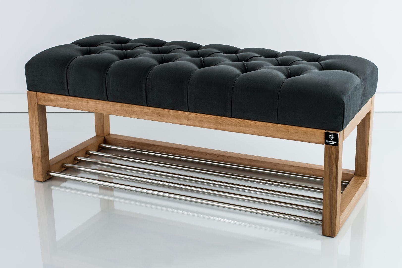 Lawka Tapicerowana Pikowana Do Przedpokoju Siedzisko Koloru Grafitowego Wood Bench Small Furniture Furniture
