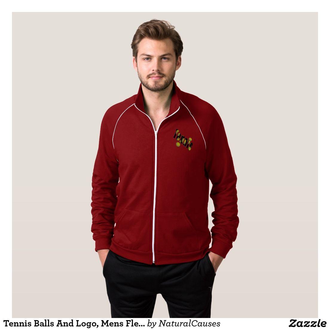 Tennis logo and balls jacket mens fleece jacket and tennis