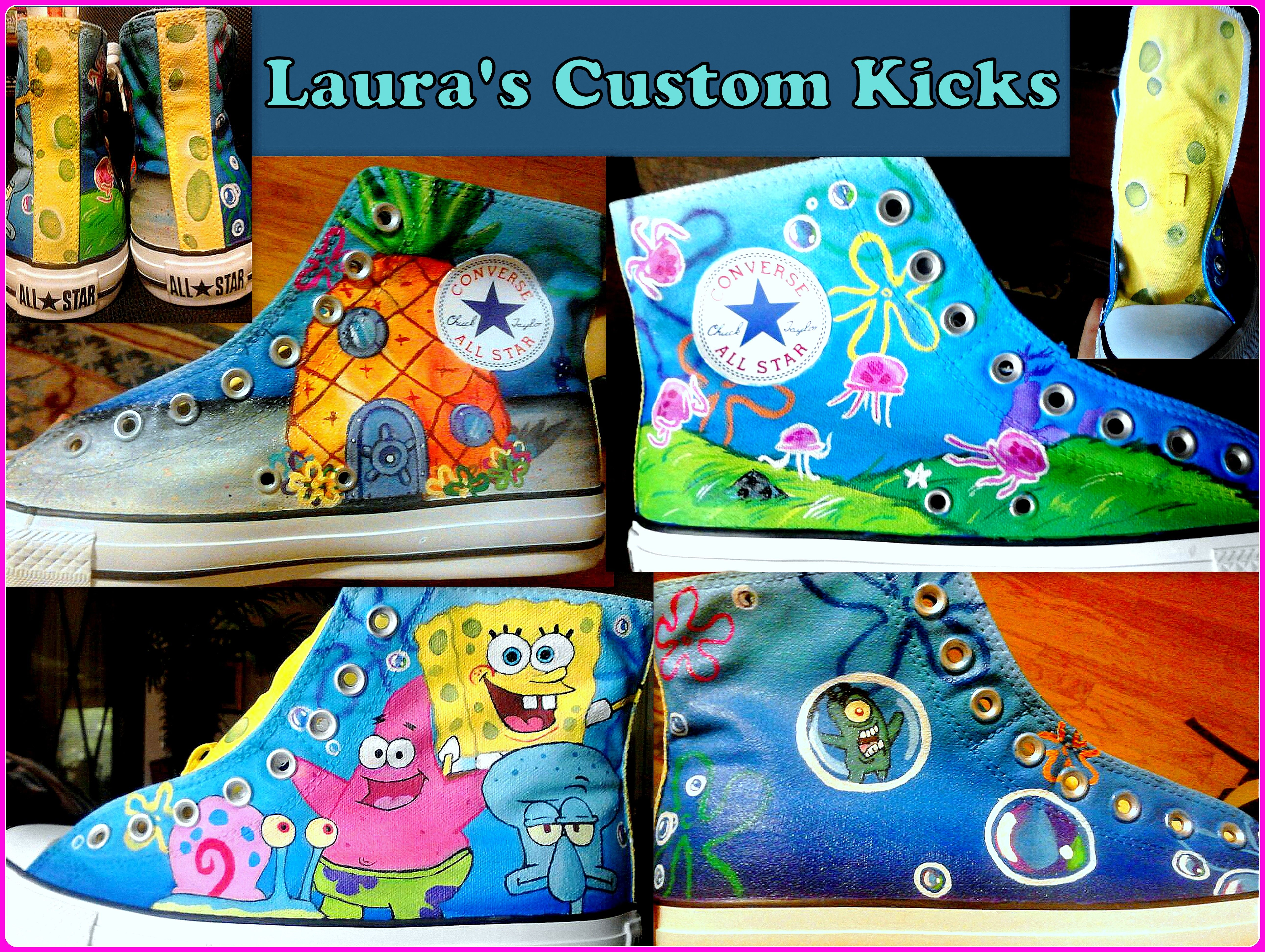 fb4b421dbfea Custom hand painted Spongebob Squarepants shoes on High top Converse. Check  out