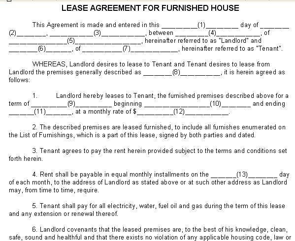 Lease Agreement For Furnished House  Lease Agreements