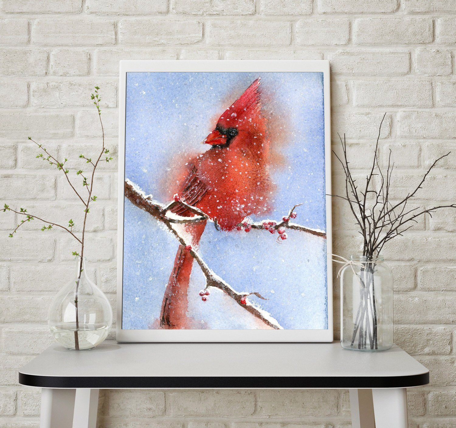 Red Cardinal art print Watercolor Cute Wild Bird in snow Winter painting wall art decor poster artwork Christmas lover gift