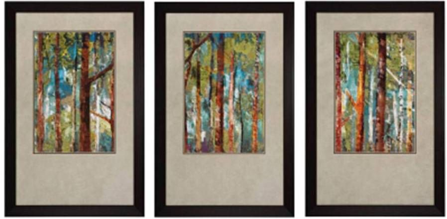 These beautiful tree prints will not disappoint. They are colorful which makes them appropriate for any season. They are framed slightly off center to create a visual appeal. The dark frame makes the colors pop off the picture.