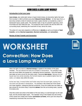 How Does A Lava Lamp Work Classy Worksheet  How Does A Lava Lamp Work Heat Transfer And Convection Review
