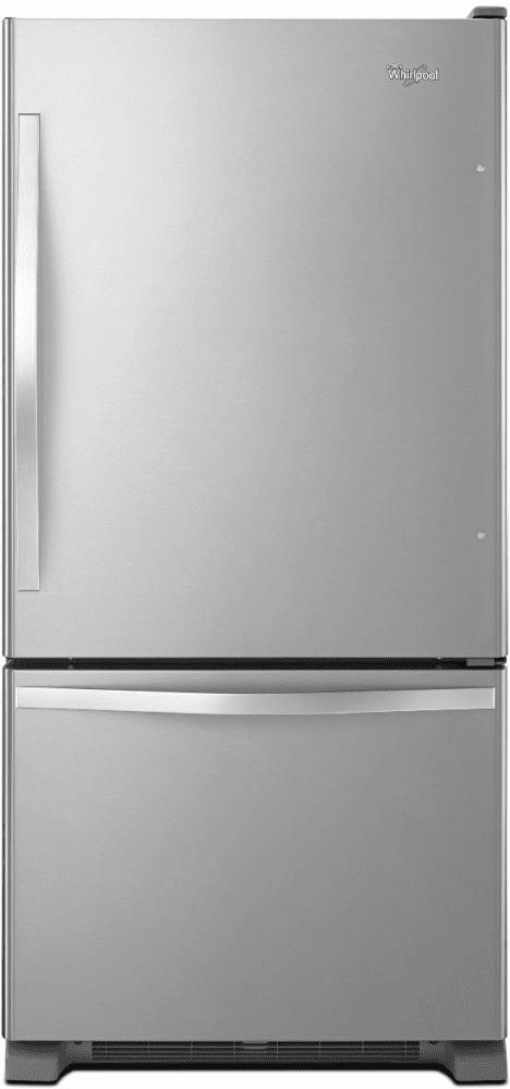 Whirlpool Wrb322dmbm 33 Inch Bottom Freezer Refrigerator With Freshflow Preserver Accu Chill System Adaptive Defrost Spillguard Glass Shelves Humidity Contr Bottom Freezer Refrigerator Bottom Freezer Glass Shelves