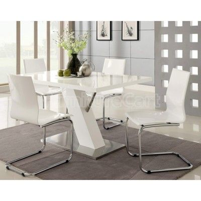 Contemporary Dining Room Chairs Prepossessing Modern Dining Room Set W White Chairs  Dinning Room  Pinterest 2018