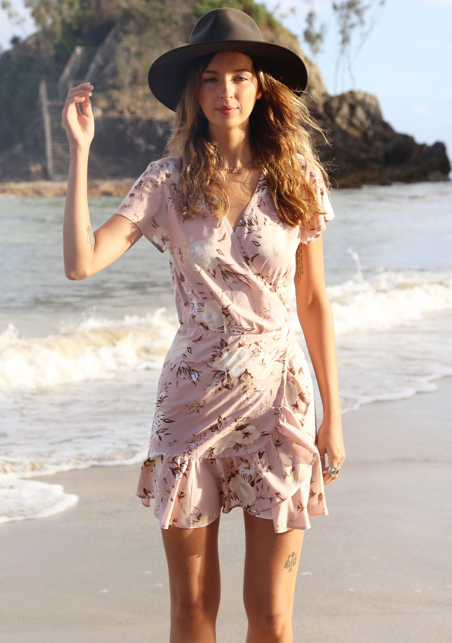 Frill Wrap Mini Vintage Bloom Musk Shop Boho Dresses