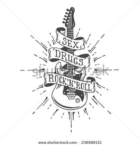 Hand drawn electric guitar with ribbon and text. Heavy