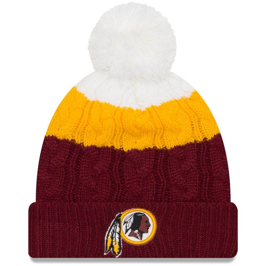 bd0a5c013a9416 Women's Washington Redskins New Era White/Burgundy Layered Up 2 Cuffed Knit  Hat with Pom, Your Price: $23.99