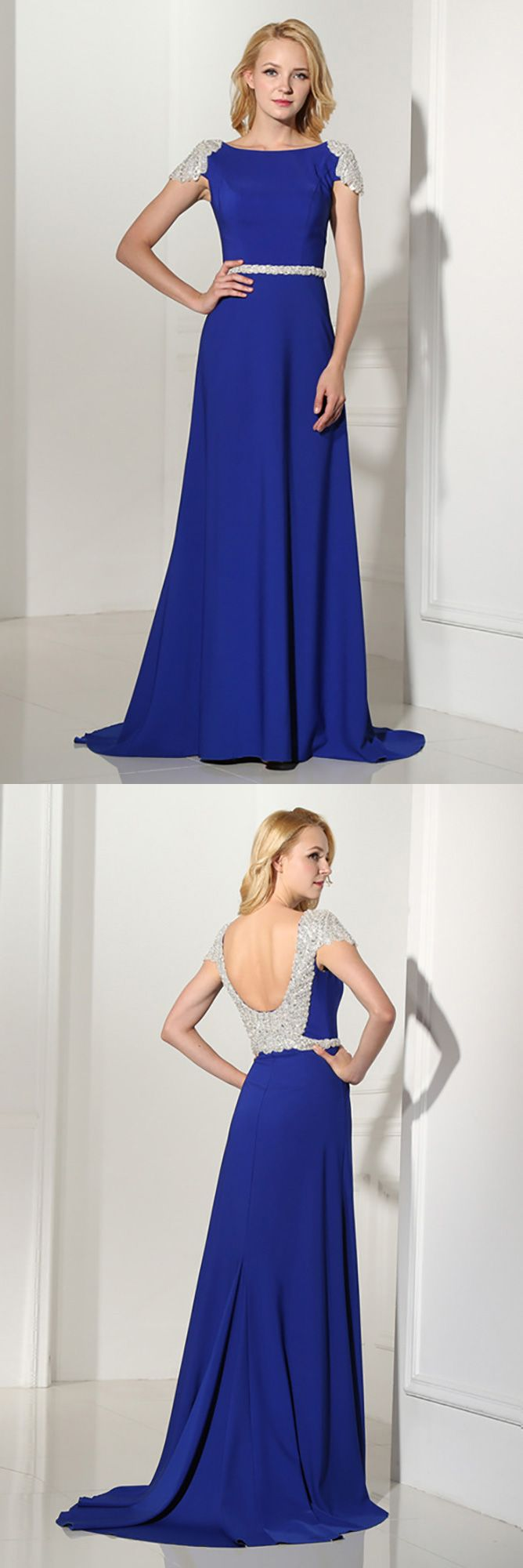 Royal Blue Long Petite Formal Dress With Beading Cap Sleeves #H76122 ...