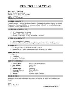 Resume For Teachers In Indian Format Google Search Anju Agarwal