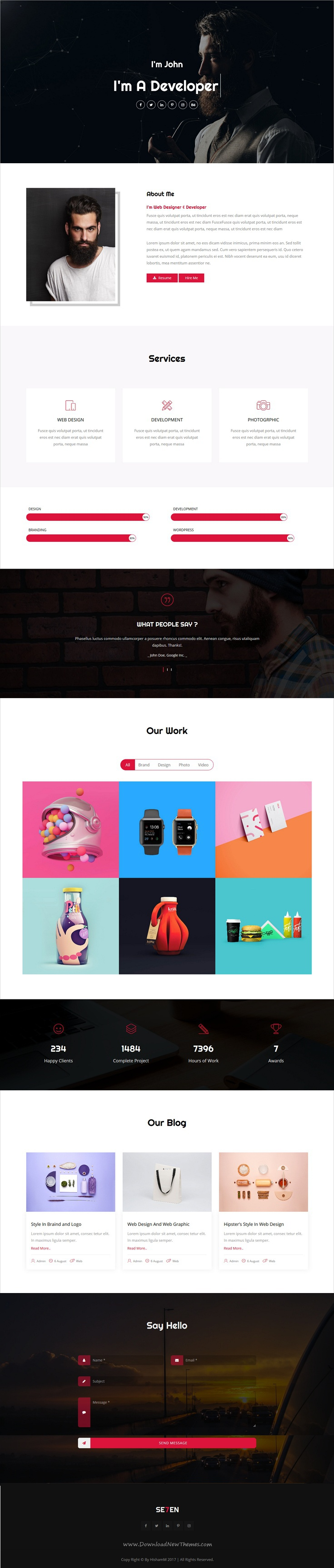 se7en is clean and modern  design responsive  bootstrap