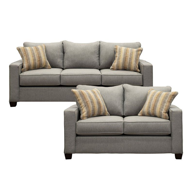 Incredible Stone Gray 2 Piece Living Room Set With Sofa Bed Gavin In Beatyapartments Chair Design Images Beatyapartmentscom