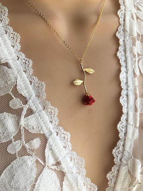 Original Red Rose Necklace, Gold Rose, Beauty and