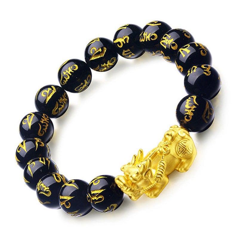 12mm Natural Black Obsidian PIXIU Bracelet