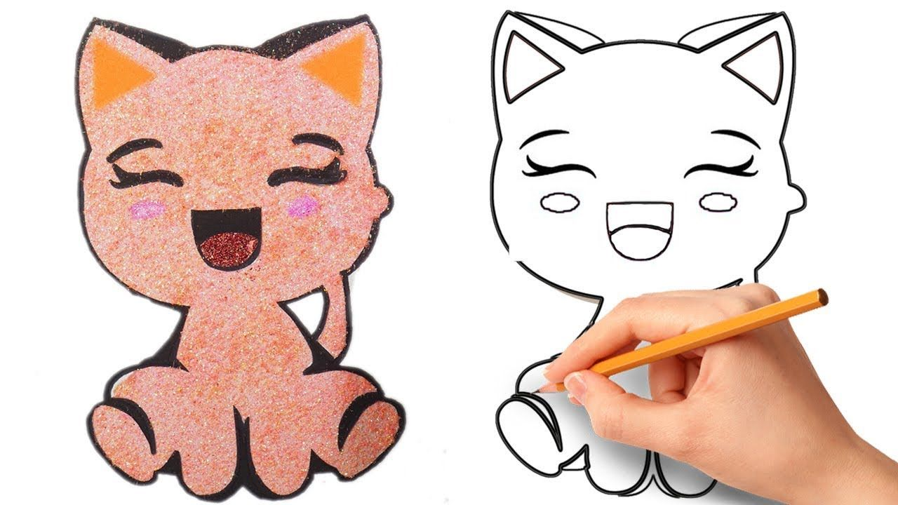 Glitter Cute Cat Coloring Pages How To Draw Cat Easy Step By Step Https Www Youtube Com Watch V Asc0qpfswcg Cat Coloring Page Cat Drawing Drawing For Kids