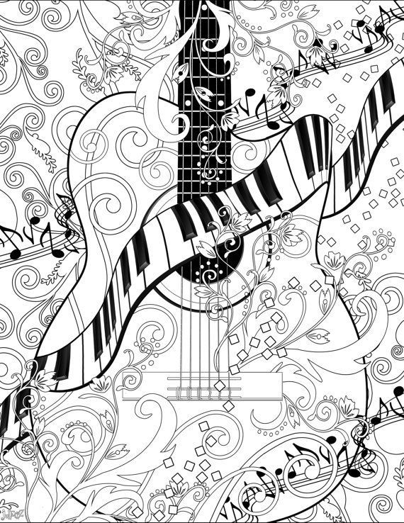 Adult Coloring Page Printable Adult Guitar Coloring Poster Piano