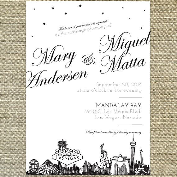 Las Vegas Skyline Destination Wedding Invitation Sample Only On Etsy 8 00
