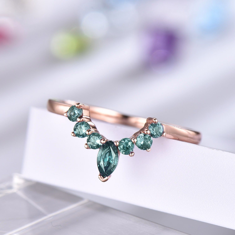 Alexandrite Ring Curved Wedding Band 14k Rose Gold