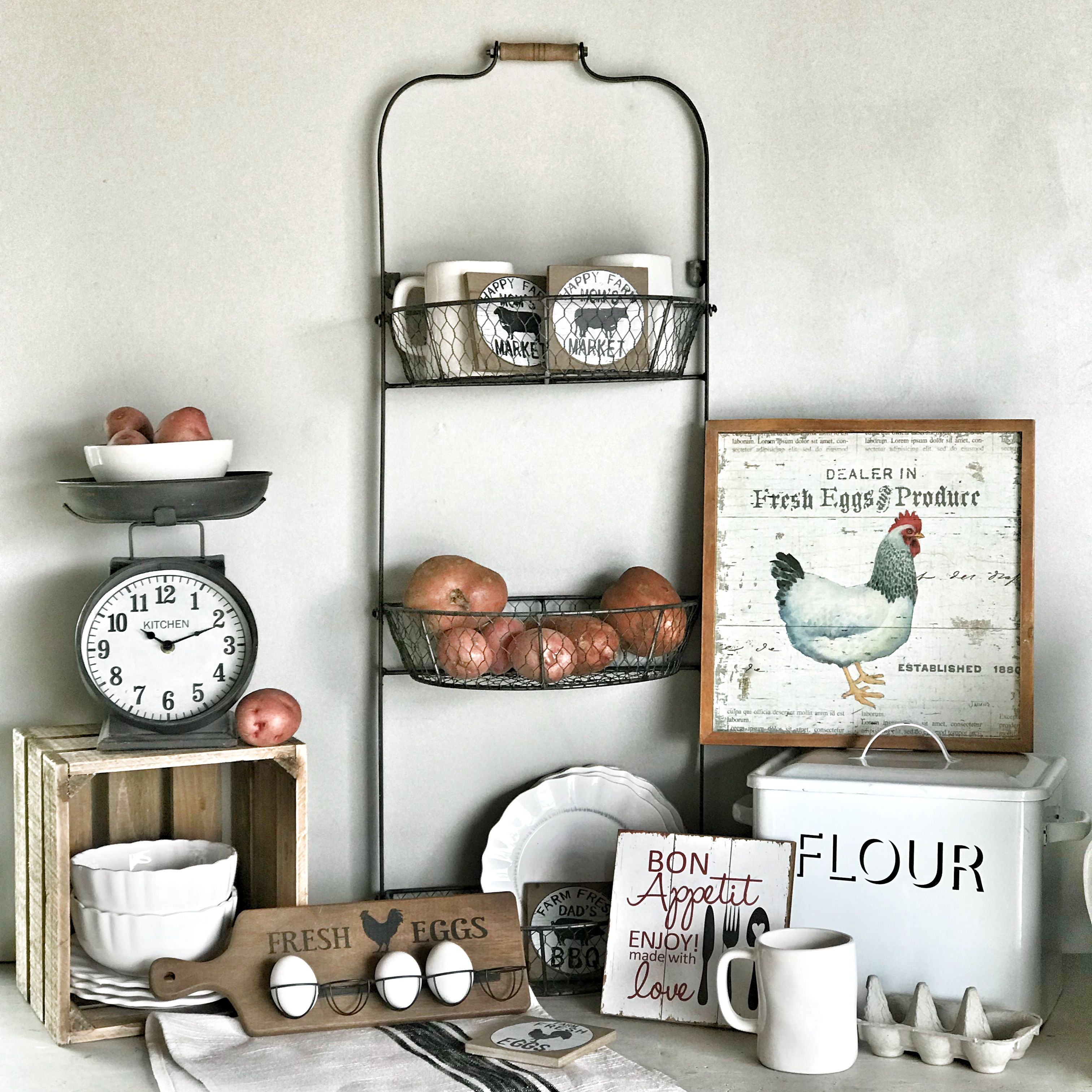 Farmhouse kitchen decor. Flour and bread box. Click here