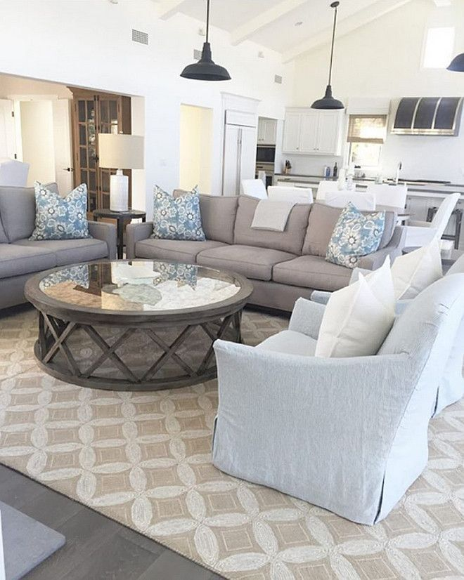Grey Couch Tan Pattern Rug Coastal Decorating Living Room