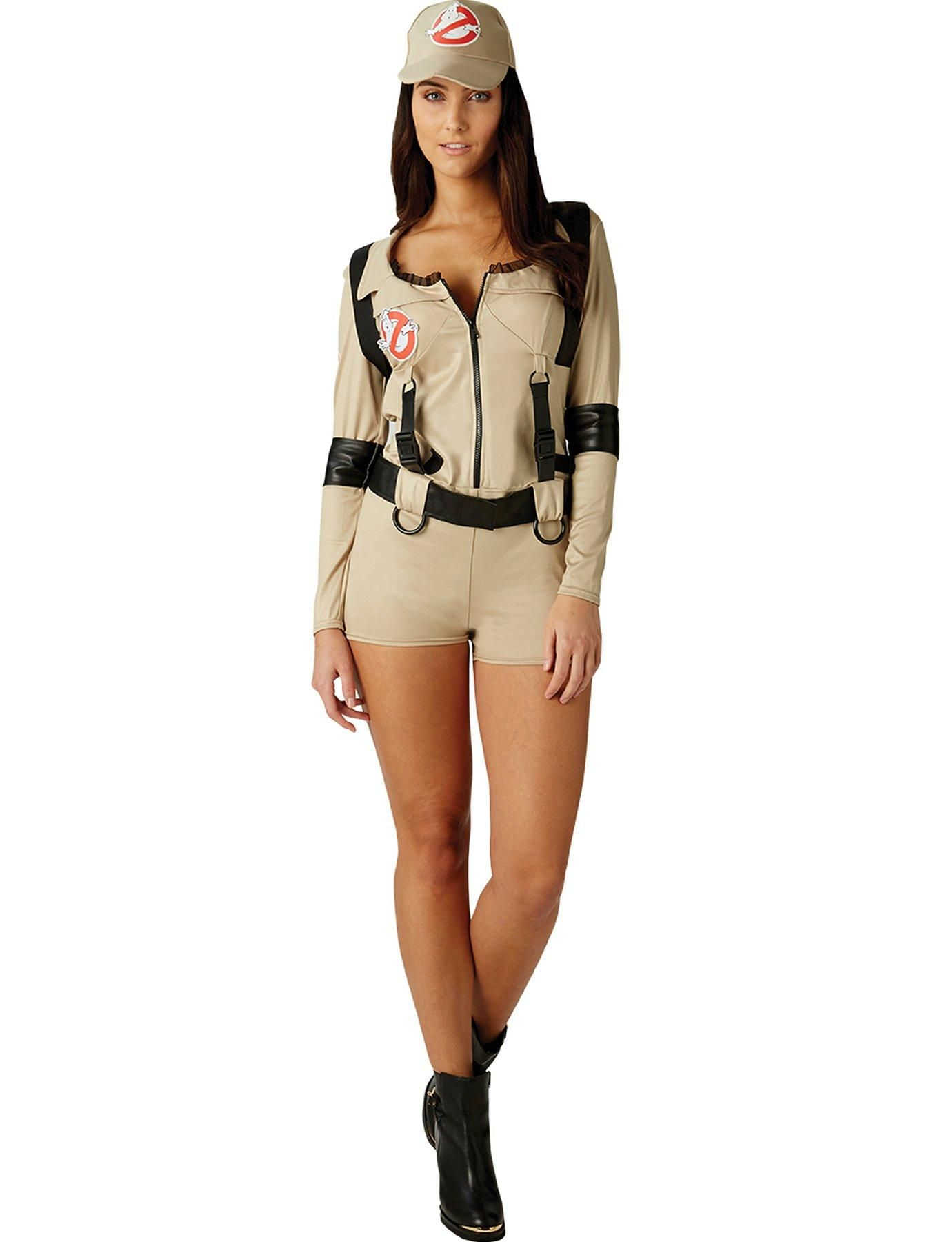 Prove that exorcising ghouls isn't just a job for men, and join the new all-woman Ghostbusters team! This all-in-one body suit features long sleeves, shorts, zip up style front, and has the Ghostbusters logo to the chest. It also includes a matching cap, and backpack. Available in sizes 4-6, 8-10, 12-14, and 16-18.