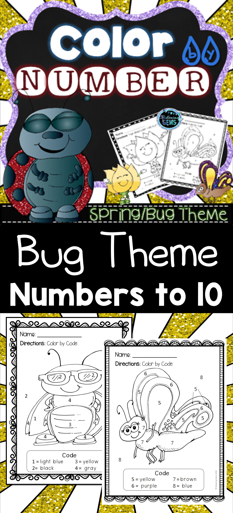 Spring Coloring - Color by Number | Bug insect, Worksheets and Number