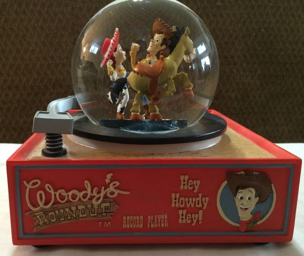 DISNEY TOY STORY 2 WOODY'S ROUNDUP RECORD PLAYER SNOWGLOBE MUSIC BOX PIXAR RARE