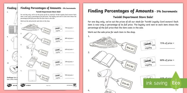 Finding Percentage Of Amounts Activity Sheets Australian