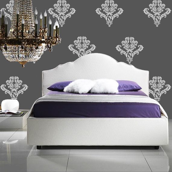 Bedroom Wallpaper Stickers Yellow Accent Wall Bedroom Bedroom Lighting Ideas Bedroom Ceiling Options: Individual Damask Wallpaper Decals Accent Stickers For