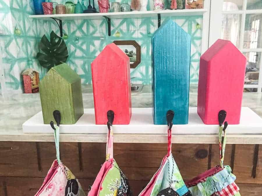 The Cutest Wooden House DIY Stocking Holder! So Sturdy