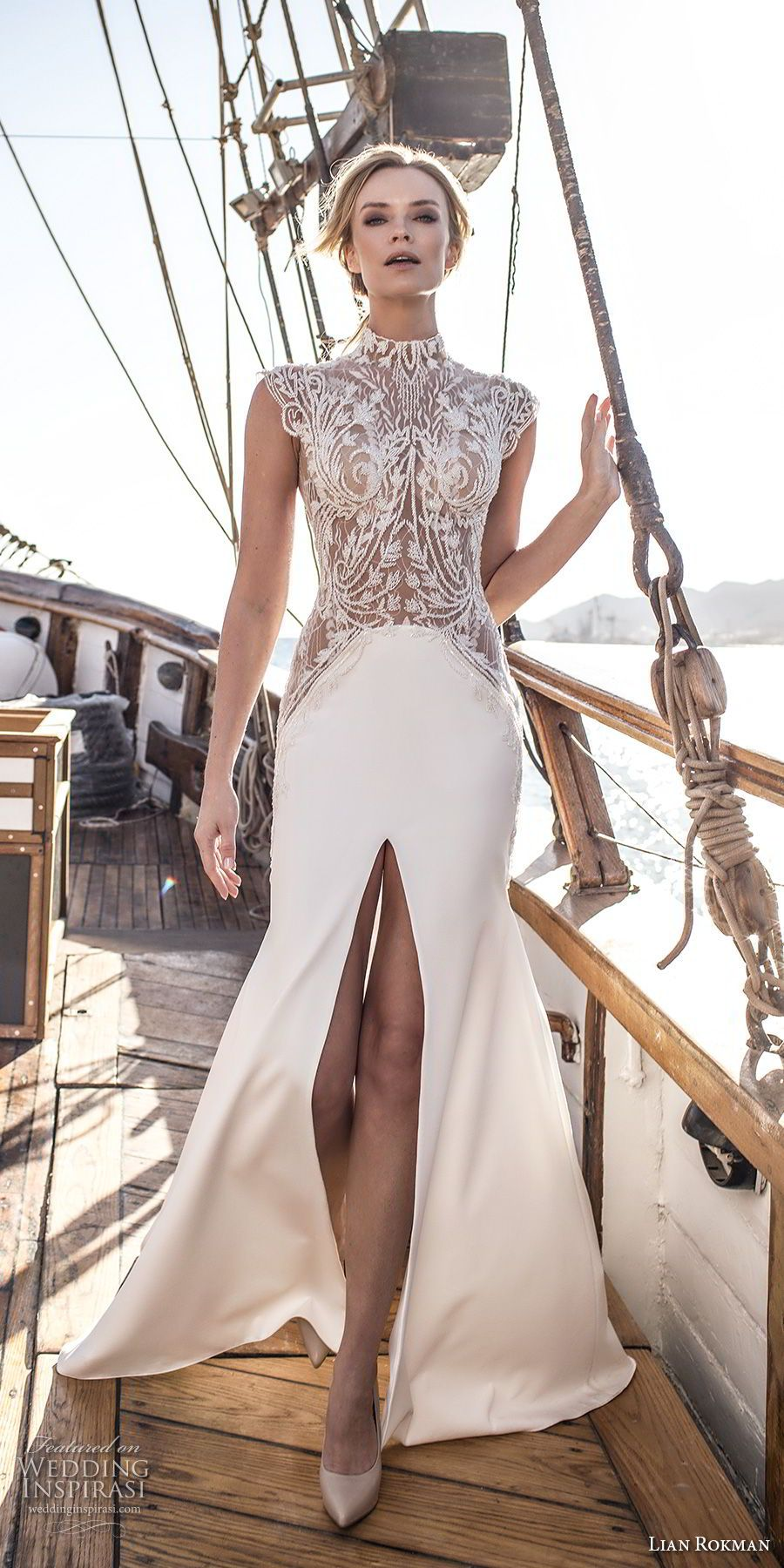 lian rokman 2017 bridal cap sleeves high neck heavily embellished bodice middle split skirt elegant a line wedding dress covered lace back short train (ruby) mv