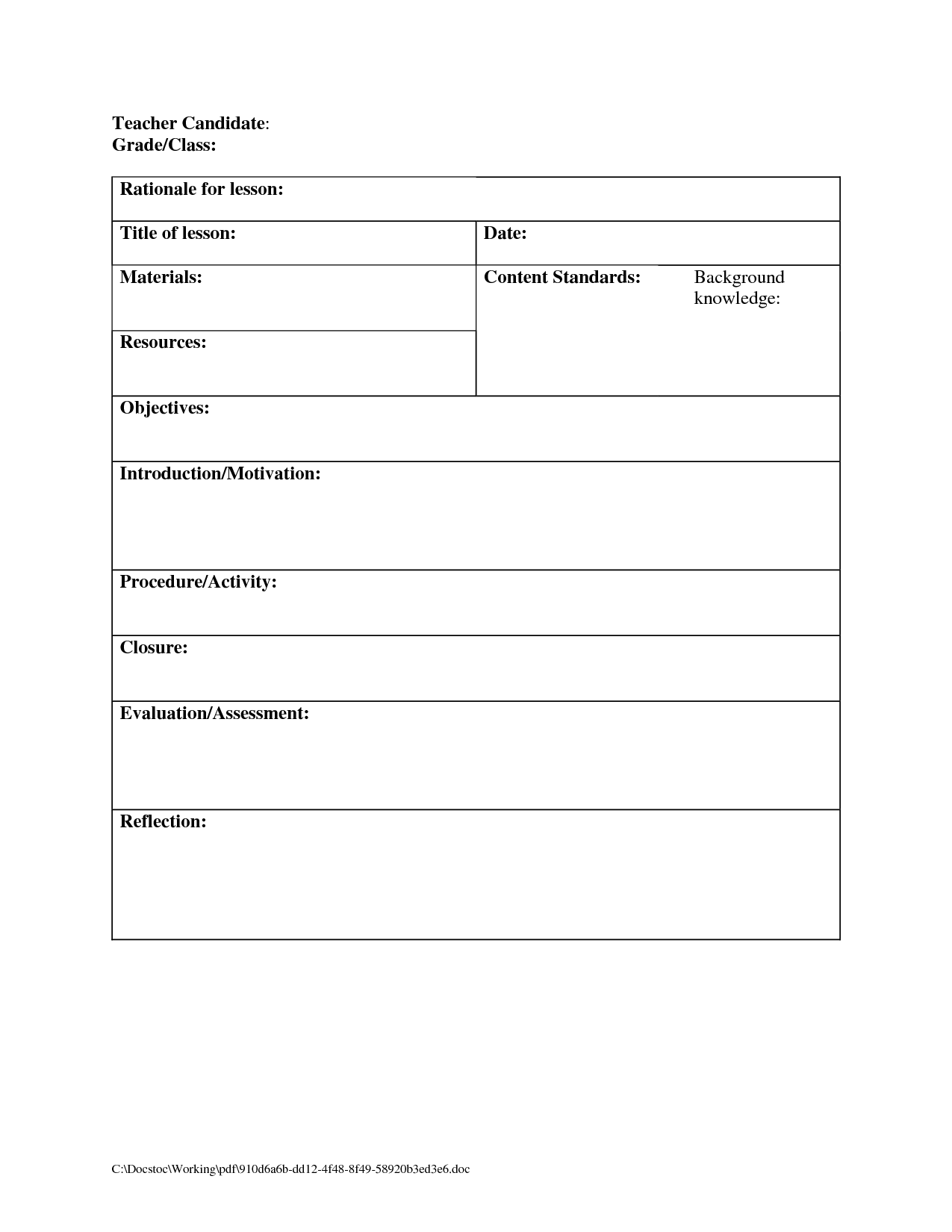 Printable Blank Lesson Plans Form For Counselors Plan Template