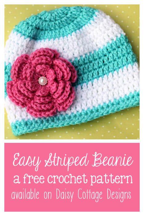Fun & Easy Striped Beanie Crochet Pattern   Pinterest   Gorros ...