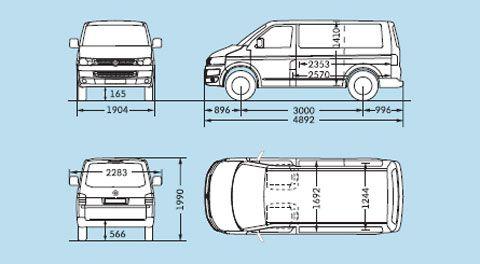 Fahrzeugabmessungen Vw T5 Kurzer Radstand Vw Bulli Pinterest