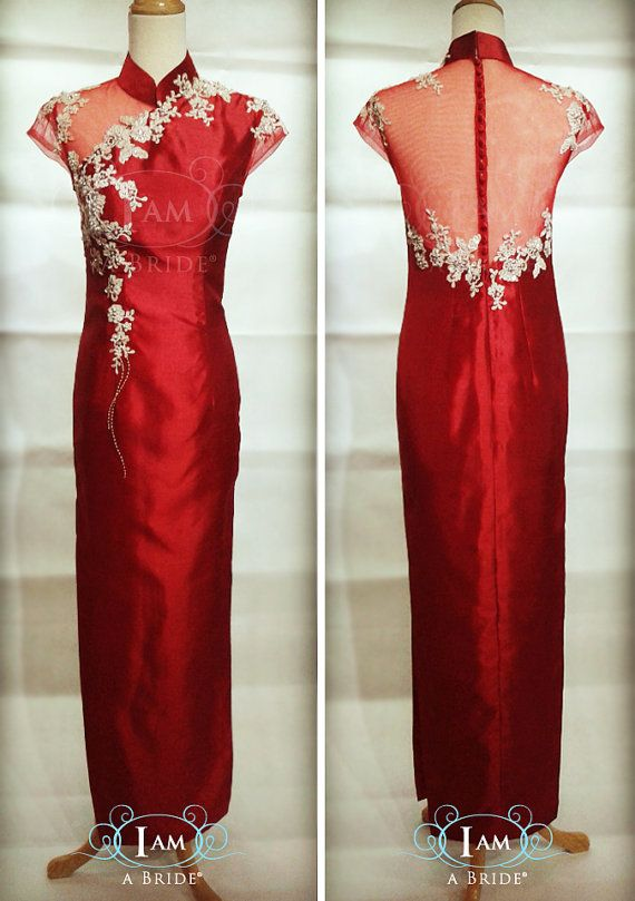 f0db70652 Custom Tailor Made Deep Red Thai Silk Cheongsam with Glittery Gold Patch  Laces and Embellishment in
