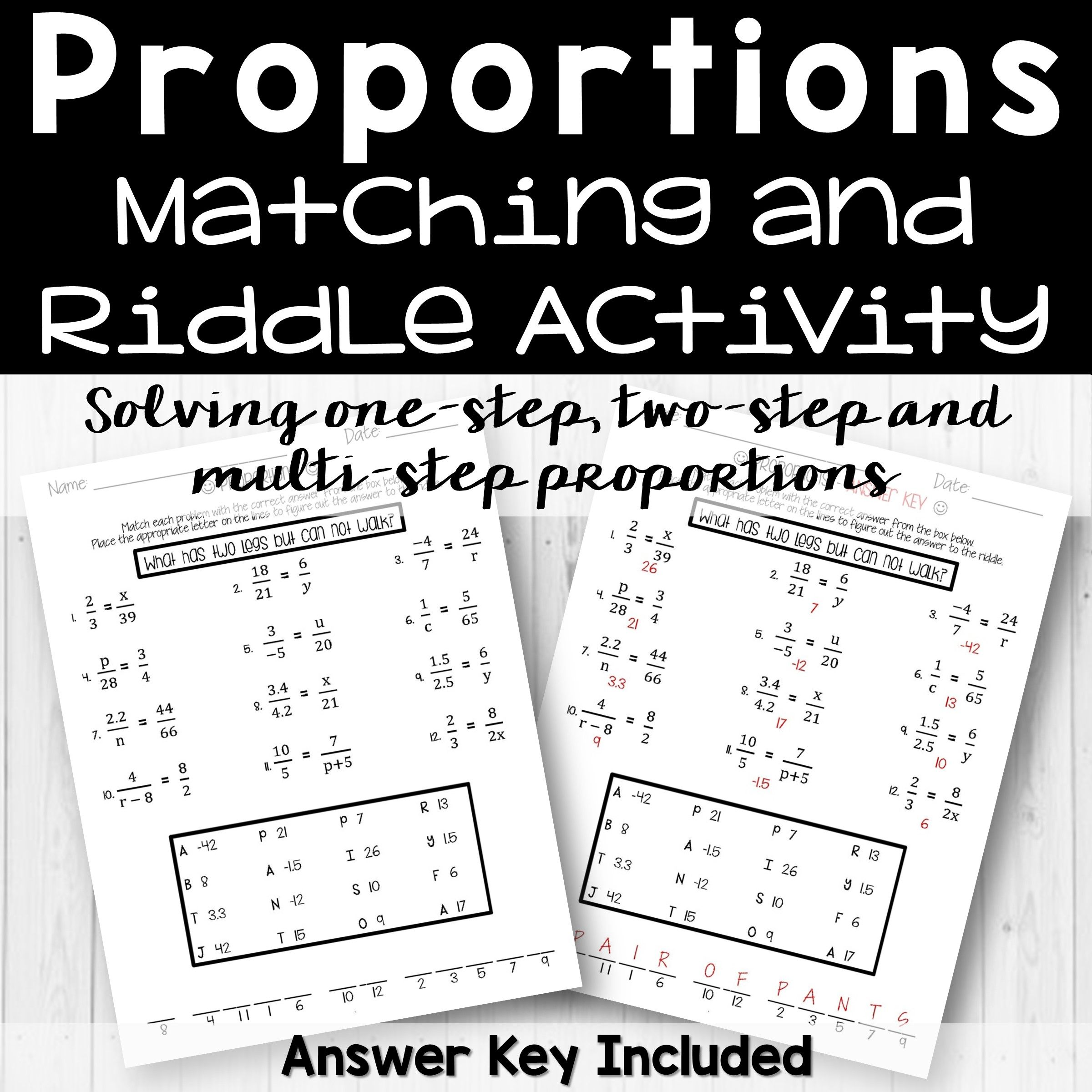 Proportions Riddle Activity From Count On Me Math Riddles Riddles Activities [ 2400 x 2400 Pixel ]