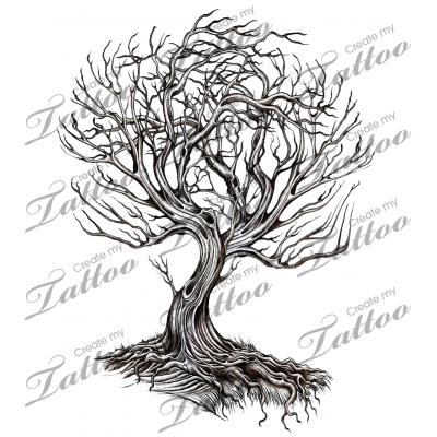 Marketplace Tattoo Bare Twisted Tree 9475 Createmytattoo Com Twisted Tree Tree Tattoo Custom Tattoo Design