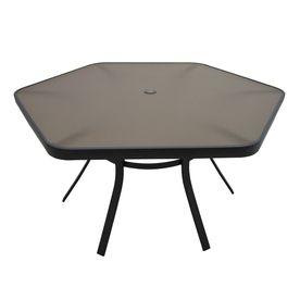 Garden Treasures Hayden Island 50 In X 56 Steel Hexagon Patio Dining Table 150 6ppl