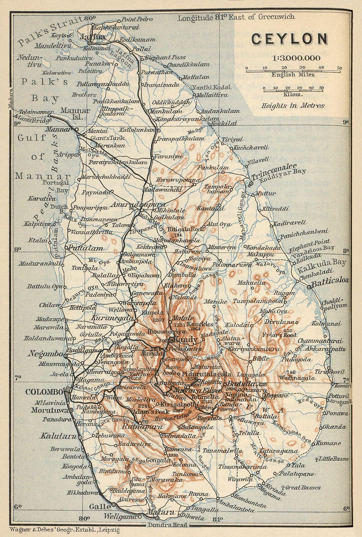 Map Sri Lanka Map Old Map Cartography