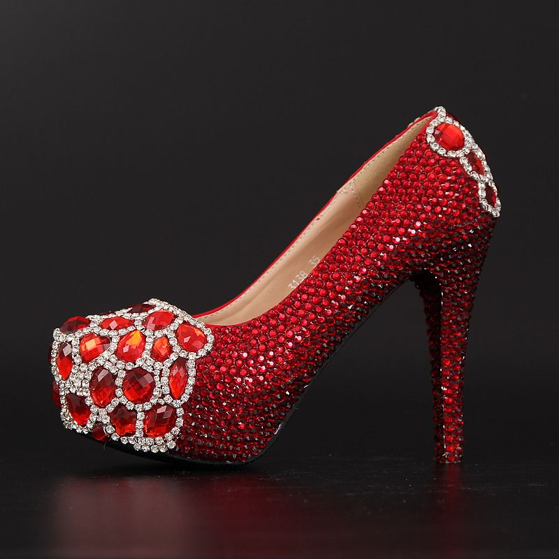 escarpin rouge crystal strass chaussure femme pas cher talon pour robe de soir e style ph nix. Black Bedroom Furniture Sets. Home Design Ideas