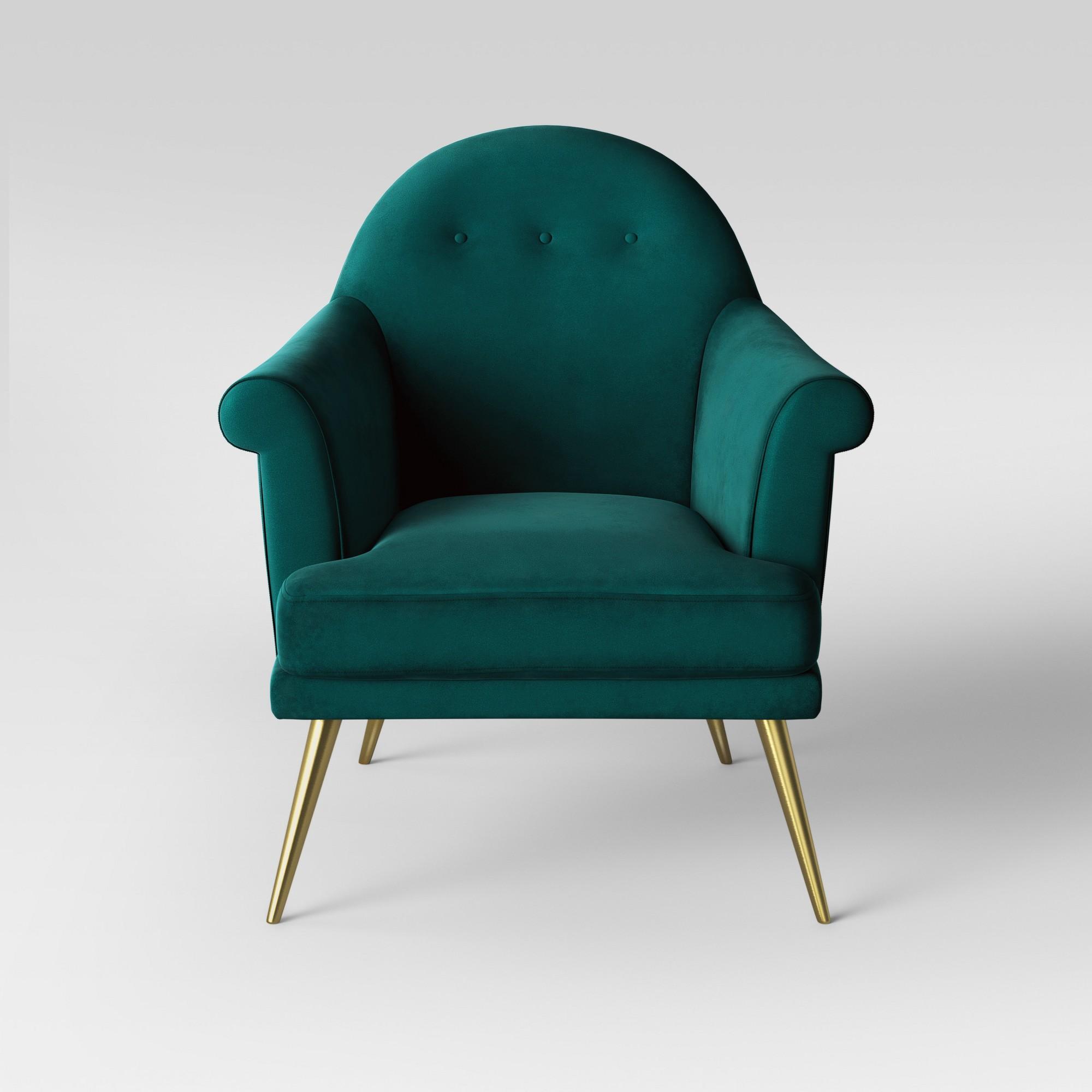 Myna Tufted Arm Chair with Brass Legs Velvet Teal