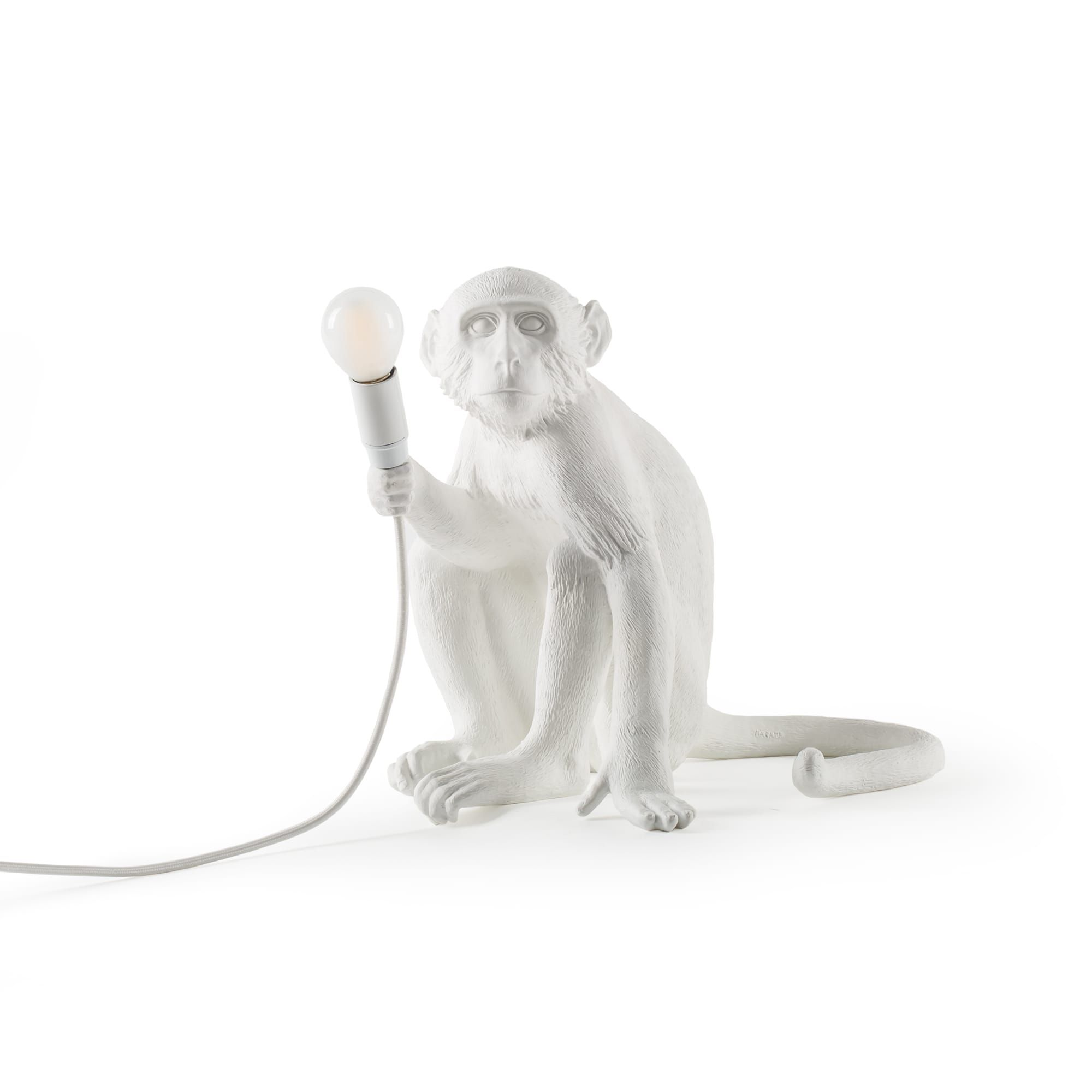Seletti Monkey Lamp Sitting White Satin Al Maymunlar